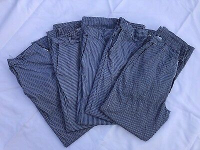 Pack Of 5, Blue Dogtooth, Ex-Rental Chefs Trousers, Select Size Xs-S-M-L-Xl-Xxl
