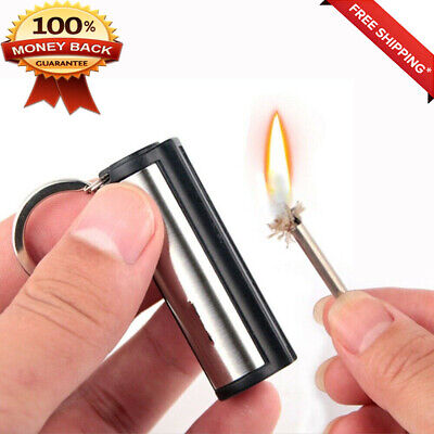Permanent Matches Striker No Fuel Outdoor Survival Tools Oil Lighter Key Chain