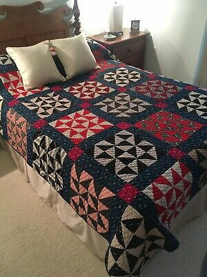 "Antique ""Pinwheel"" Quilt, Red & Blue Calico Prints, Hand Quilted 1880's, #18522"