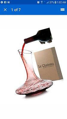 Le Chateau Wine Decanter - 100% Hand Blown Lead-free Crystal Glass, Red Wine