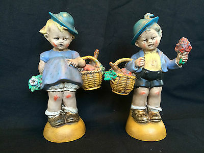 antique porcelain / bisque German boy and girl with baskets. Very old Couple