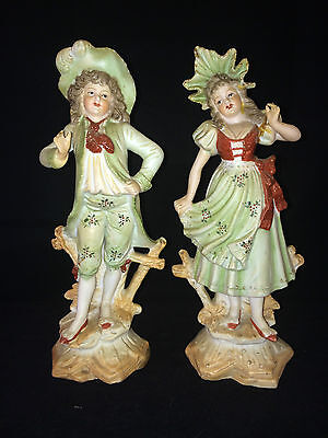 antique german porcelain / bisque pair. Marked