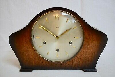 1940s SMITHS OAK CASED THREE TRAIN WESTMINSTER CHIME VINTAGE MANTEL CLOCK