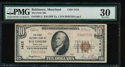 AC 1929 $10 The First National Bank of Baltimore, Maryland PMG 30 Ch #1413