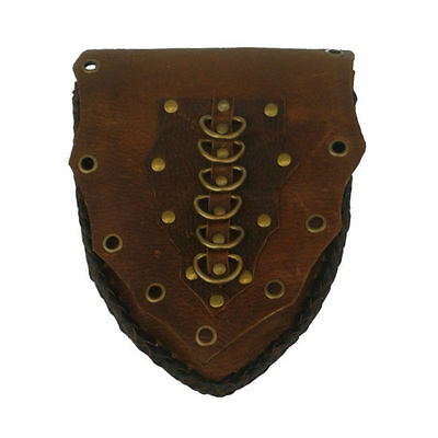 LARP Medieval Reenactment Leather Belt Decorative Pouch Shield in Black Brown