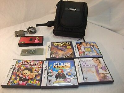 Nintendo DS Lite Launch Edition Onyx Black Handheld System 7 games and case