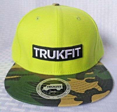 0b94ed33876051 Trukfit Original Snapback Hat W. Flat Bill Brim Yellow With Camo Visor  Brand New