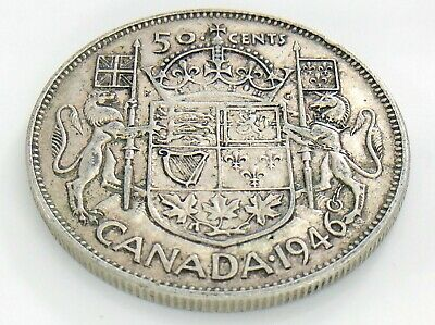 1946 Narrow Date Canada 50 Fifty Cent Half Dollar Circulated George VI Coin J189