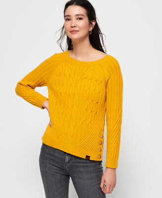 New Womens Superdry Hester Cable Knit Jumper Amber Ochre
