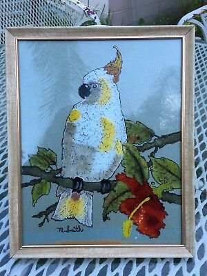 Vintage Reverse Painting on Glass Cockatoo Tropical Red Hibiscus Artist Signed