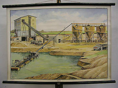 Beautiful Old Schulwandkarte Gravel Pit Gift Anniversary 90x64cm Vintage Map