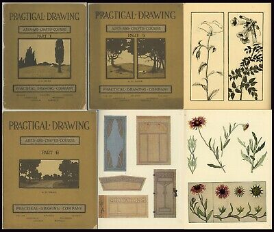 Antique 3 PRACTICAL DRAWING Arts and Crafts Course Books 1909 G W Ware Illus