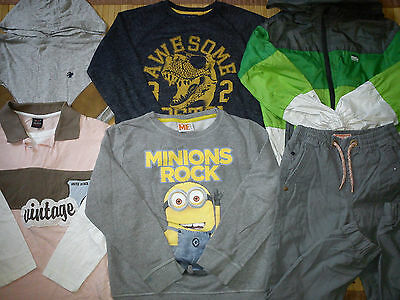 100% NEXT 6x BUNDLE OUTFITS BOY CLOTHES 7/8 YRS TOPS TROUSERS JACKET (1.8)