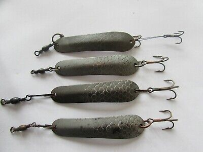 "4 rare vintage hardy greenwell scaled spoon 2.5"" vintage fishing lure bait"