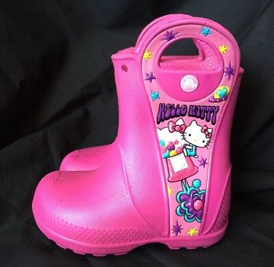 CROCS HELLO KITTY CANDY RAIN RUBBER BOOTS size C 7