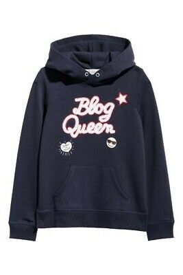 H&M Girls Navy Blue Blog Queen Hooded Sweatshirt Hoodie Top BNWT Size 8-10 Years