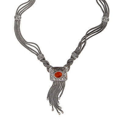 Savati ~ Sterling Silver with Amber Byzantine Multi Chain Fringed Necklace