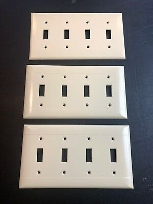 Lot of 3 VINTAGE SIERRA + EAGLE UL (P3) IVORY TRIPLE 4 GANG SWITCH PLATE COVER