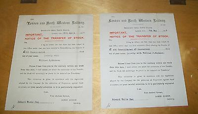 London And North Western Railway Notice Of Transfer Of Shares 1915 (2) Lnwr