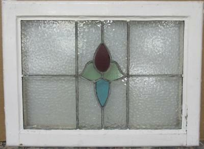 "MID SIZED OLD ENGLISH LEADED STAINED GLASS WINDOW Gorgeous Floral 24"" x 17.75"""