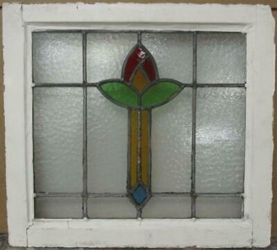 "OLD ENGLISH LEADED STAINED GLASS WINDOW Colorful Abstract Floral 19.75"" x 18"""
