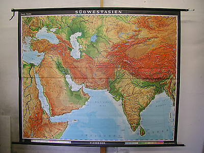 Schulwandkarte Wall Map School Map Orient Turkey India Mint 204x169 1997