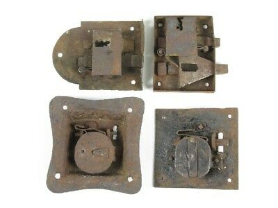 XIX Century Lot of 4 Ancient Locks Iron for Doors or Sheds Unique