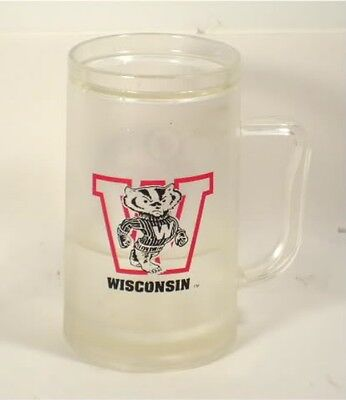 Wisconsin Badgers WI Logo Mascot Frosted Freezer Mug Pre-owned