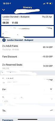 2x Flight Tickets To Budapest from London Stansted