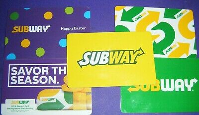 SUBWAY  COLLECTIBLE GIFT CARD LOT of 5 Different Cards No Value