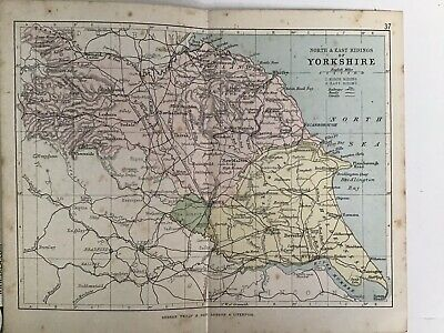 North East Ridings Yorkshire 1880 Original Antique County Map Bartholomew Philip