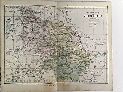 Yorkshire West Riding, 1880 Original Antique County Map Bartholomew, Philip