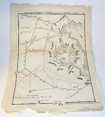 ANTIQUE MAP SIEGE PLAN OF CITADEL TURIN by AUST'S 1799 PUBLISHED GARDINER 1812