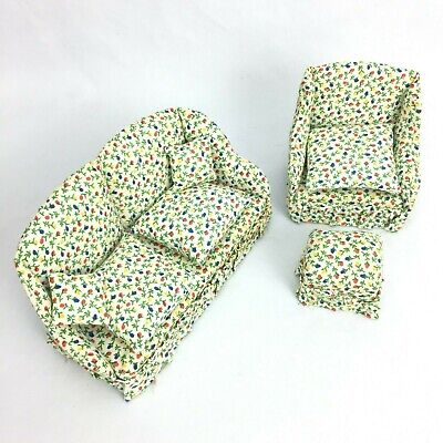 Miniature Doll House Fabric Furniture Sofa Arm Chair Ottoman Vintage Set of 3
