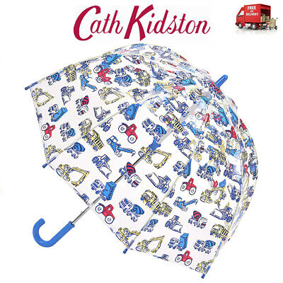 Cath Kidston Trucks & Diggers Child Dome Shape Clear Birdcage Umbrella Funbrella