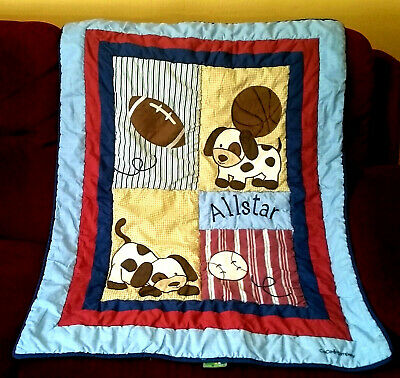 CoCo & Company ALLSTAR Boy's Crib Comforter Quilt Puppies Football Soccer Ball