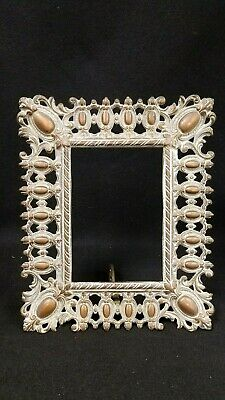 Antique Victorian Heavy Cast Iron Mirror Picture Frame Easel Type