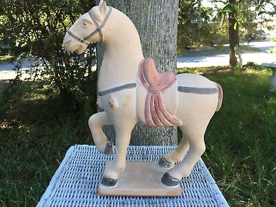 Vintage Chinese Terra Cotta Large Tang Dynasty Style Horse Statue Lifting 1 Leg