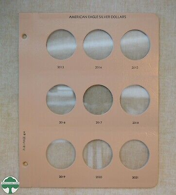 Dansco Album Replacement Page 7181 4 American Eagle Silver Dollars 2013 to 2021
