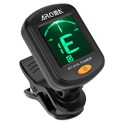 AROMA AT-01A Rotatable Clip-on Guitar Ukulele Bass Tuner with 2 Colors Backlight