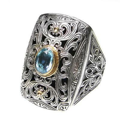 Gerochristo 2791 ~ Solid Gold, Silver,Topaz  Medieval-Byzantine Cocktail Ring