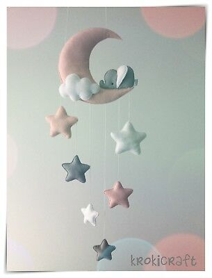 Sleepy elephant Moon and stars nursery decor ( silver grey, white pink)