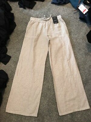 M/&s Chambray Linen Blend Pants Trousers Size 16 Regular   Bnwt Free Sameday P/&p