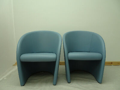 Stunning pair of rare Poltrona Frau Intervista chairs in Chalk Blue Leather