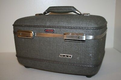 American Tourister Cosmetic Makeup Overnight Hard Train Case NO KEY Vintage Grey