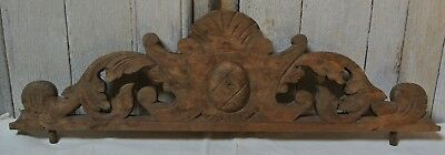 Antique French Wardrobe Salvage Wood Finial Pediment Hand Carved