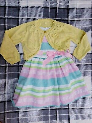Beautiful Girl's Striped Dress & Cardigan Outfit  2-3 Years Spring 2020