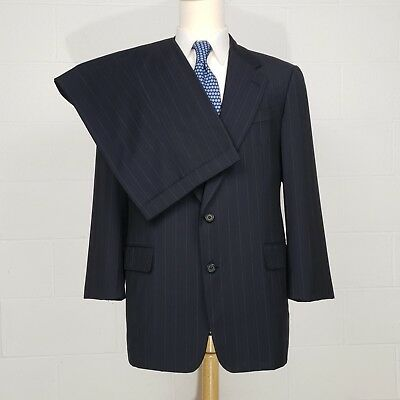Hickey Freeman Mens 42R Cashmere Blend Charcoal Gray Striped Suit 36x26 42 R