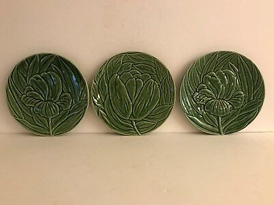 "3 Bordallo Pinheiro Leaf & Flower  7-3/4"" Plates Majolica Portugal Green"
