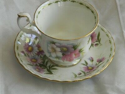 Royal Albert Bone China England Tea Cup Saucer October Flower of Month Cosmos